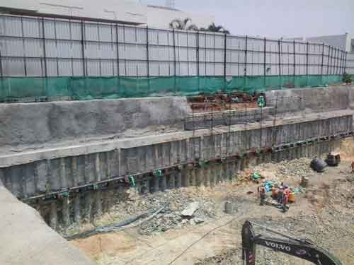 Contiguous Anchored Pile Wall Project for Cyberhub, Bengaluru